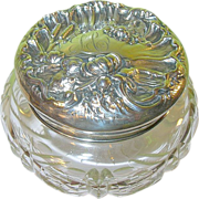 Art Nouveau Sterling & Cut Crystal Large Vanity Jar.