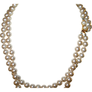 Vintage Double Strand Faux Pearl Necklace by Marvella