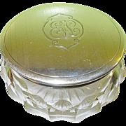 Vintage Birmingham Sterling & Crystal Vanity Jar