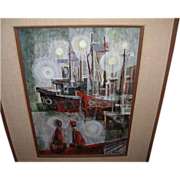 "Si Lewen Oil on Canvas ""Harbor Eve"" Original Painting"