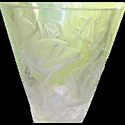 """Vintage Lalique Vase 9 1/4"""" Frosted Rose Design"""