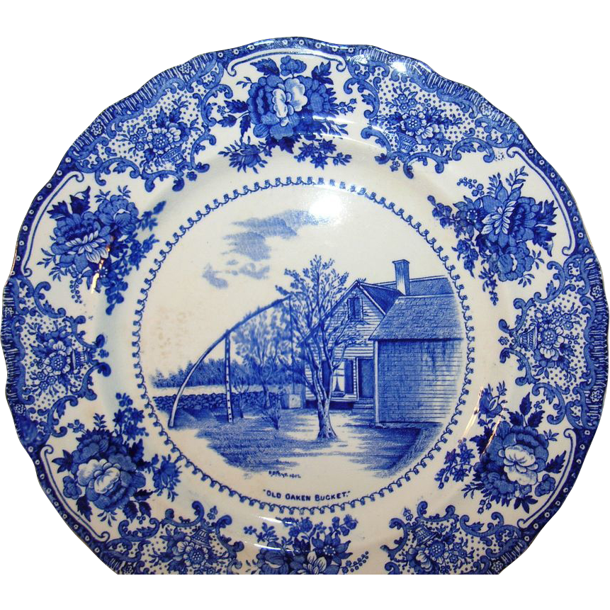 Blue And White Plates vintage w. adams co. england blue white plate from robbiaantique