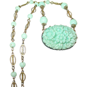 Vintage Link Necklace & Pendant Peppermint Green Glass 1930's
