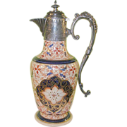 Antique Japanese Imari Export Pitcher Silver Plated Mounting 19th Century