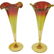 "Antique Pr Amberina Trumpet Vases 12 1/4"" tall 1890's"