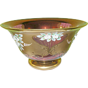 Vintage Bohemian Cranberry Glass Lg Footed Consul Bowl Gilded & Jeweled