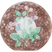 Antique Majolica Lg Plate Basket Weave & Blackberries