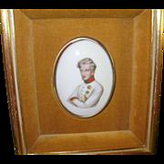 Vintage Miniature Portrait on Porcelain Military Officer