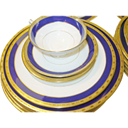 Vintage Minton for Tiffany & Co China Set Cobalt Blue & Gold Service for 12--59 Pieces
