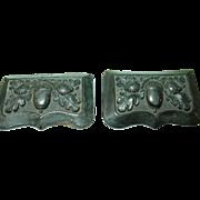 Victorian Gutta Percha Belt Buckle Raised Acorn & Oak Leaves Design
