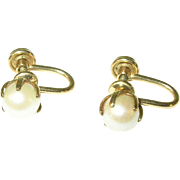 Vintage Earrings Gold Filled Fresh Water Pearl
