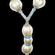 Vintage Sterling & Enamel Necklace Faux Pearls Drop Pendant