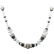 Vintage Sterling Crystal Bead Necklace