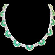 Vintage Sterling Link Necklace Faux Emerald & Faux Diamond Fan Shape links