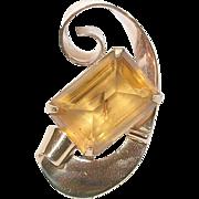 Vintage Sterling & Vermeil Coro Brooch Lg Champagne Glass Stone
