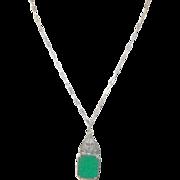 Vintage Sterling Necklace & Pendant Green Onyx & Marcasite Filigree Work