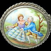 Vintage Sterling Brooch Limoges Miniature Painting