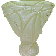 Vintage Art Glass Vase Frosted Lily Pattern