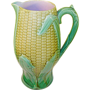Antique Majolica Corn Pitcher 19th Century
