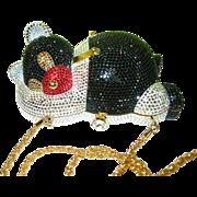 Vintage Antonini Italy Clutch Bag Panda Design Swarovski Crystals