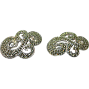 Vintage sterling & marcasite silver sweater clips