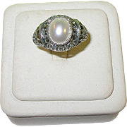 Sterling Silver with Faux Pearl and Marcasite Ring