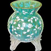 Vintage Art Glass Footed Vase Enameled Flowers
