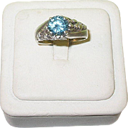 Vintage Sterling Silver and Blue Topaz Ring