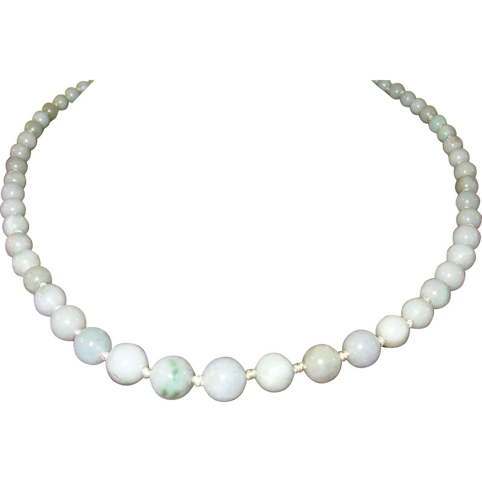 vintage white jade beaded necklace from robbiaantique on