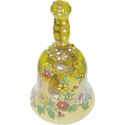 Vintage Art Glass Bohemian Bell Jeweling & Hand Applied Decoration