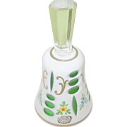 Vintage Bohemian Art Glass Bell White & Cut out Green Handpainted