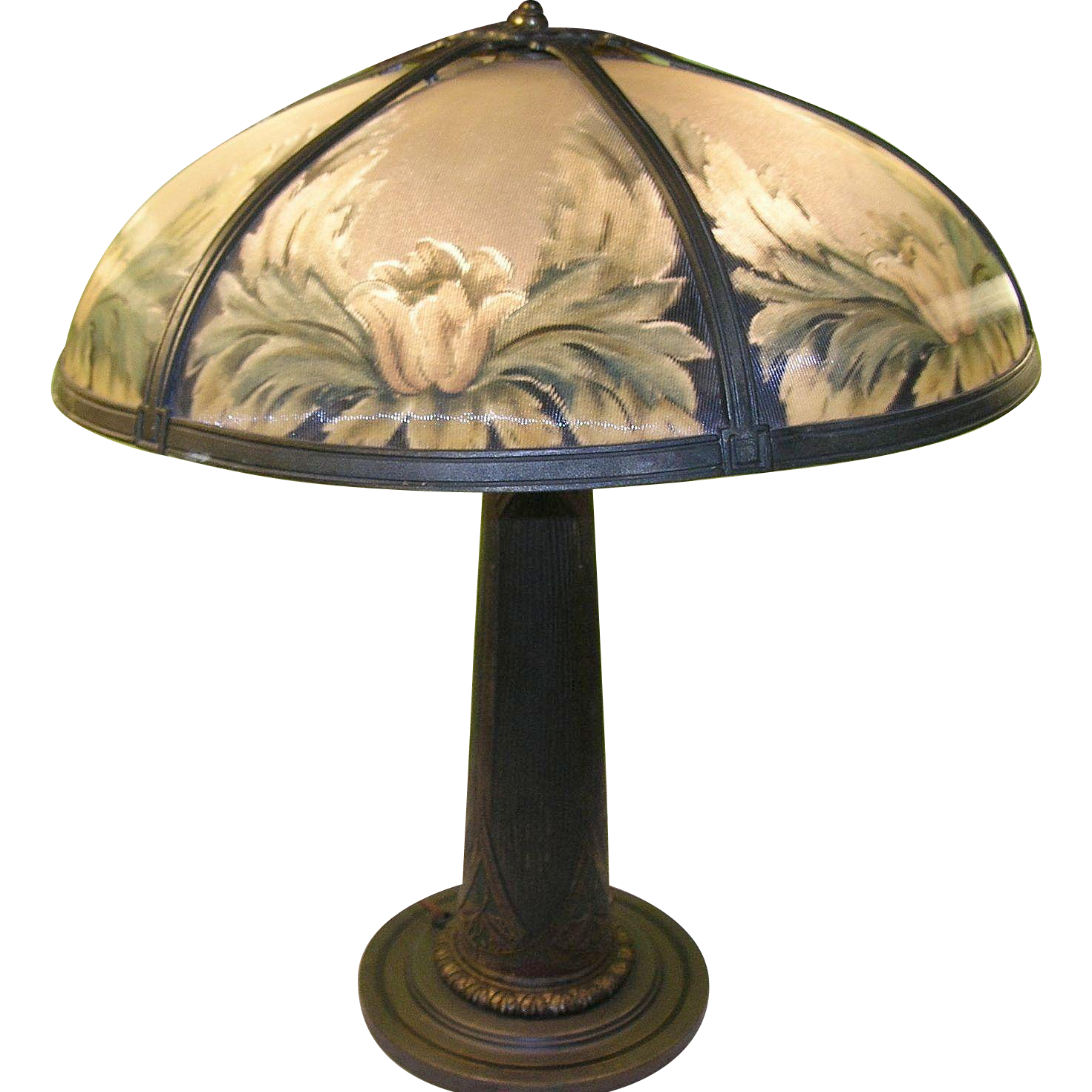 Vintage Bronze Bradley & Hubbard TAble Lamp Reverse Painting from ...