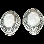 Vintage Sterling Silver & Mother Of Pearl Earrings