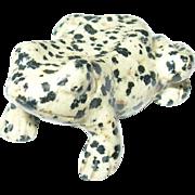 Vintage Hand Carved Miniature Leopard  Jasper Frog