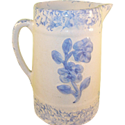 Antique Sponge Ware Pitcher Raised Blue Design of Roses