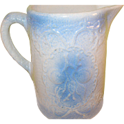 Vintage Salt Glazed Pitcher Blue Raised Design
