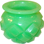Pomade Jar Jade Green Glass Faceted