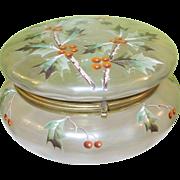 Antique Vanity Powder Bowl Hinged Lid Glass & Enamel Work Holly & Berries