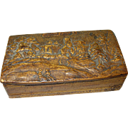 Antique Oriental Birch Box Hand Carved Oriental Scene