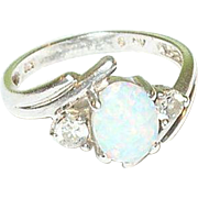 Vintage Sterling Silver & Created Opal & CZ Ring