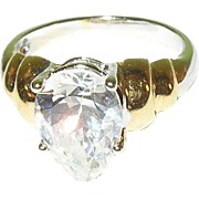 Vintage Sterling Silver and Vermile Ring with Cubic Zirconia