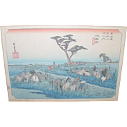 Vintage Japanese Wood Block Hand Colored Prints Set of 3