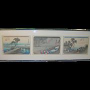 Vintage Japanese Wood Block Prints Hand Colored Set of 3