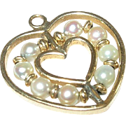 Vintage Gold Filled & Cultured  Pearl Heart Pendant