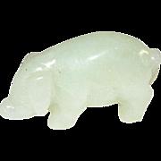 Vintage Miniature Carved Jade Pig