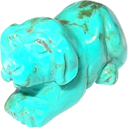 Vintage Miniature Carved Turquoise Dog