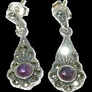 Vintage Sterling Silver Amethyst & Marcasite Earrings