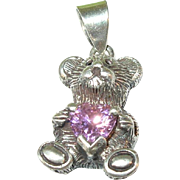 Vintage Sterling Silver Teddy Bear Pendant