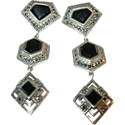 Vintage Sterling Silver Black Onyx & Marcasite Earrings