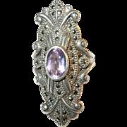Vintage Sterling Silver Amethyst & Marcasite Ring